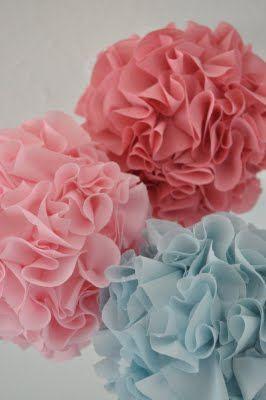 DIY Fabric Poms - less messy and last longer than tissue poms - use styrofoam balls, fabric circles, hot glue
