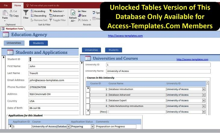 Class and Course Online Registration Software MS Access
