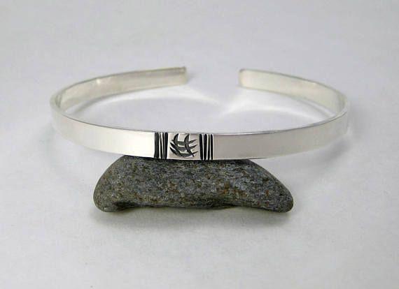 Silver Cuff Bracelet  Handstamped Sterling Cuff  Minimalist