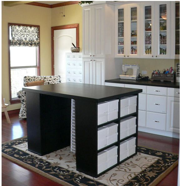 Work table with storage | Craft Rooms | Pinterest ...