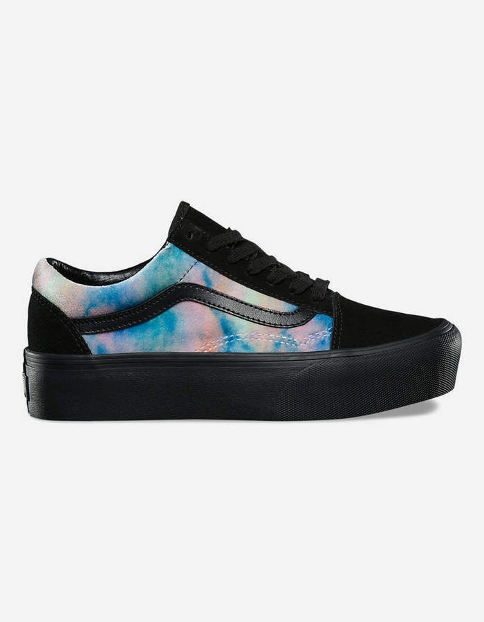 abc34c964f5eca Vans Velvet Tie-Dye Old Skool Platform Womens Shoes