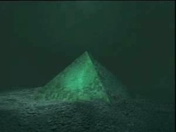 These strange underwater pyramid structures at a depth of two thousand meters were identified with the help of a sonar according to oceanographer Dr. Verlag Meyer. Studies of other structures like Yonaguni in modern day Japan have allowed scientists to determine that the two giant pyramids, apparently made of something like a thick glass, are each larger than the pyramid of Cheops in Egypt.