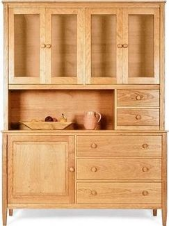 Vermont-Made Shaker Buffet & Hutch in natural cherry - the 2 small counter drawers offer perfectly placed storage options.