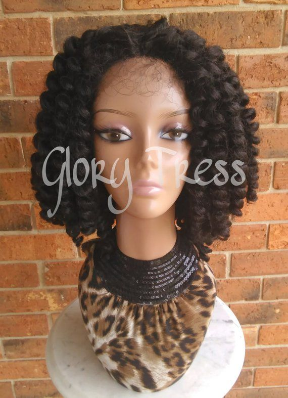 On Sale Bantu Knot Out Crochet Braided Lace Front Wig Etsy
