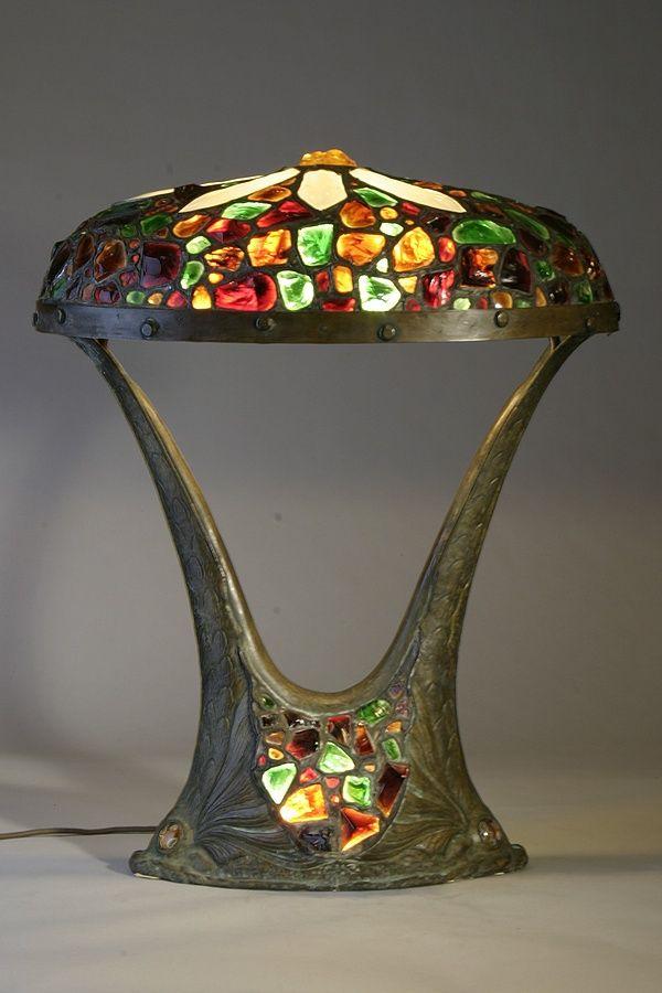Austrian Chunk Jewel Lamp / Ca. 1910 / Rare Austrian Chunk Jewel Leaded  Glass Lampshade