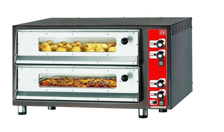 PIZZA-CB 700x700x2-VI Forno pizza elettrico con refrattario in pietra lavica, sportelli con vetro e illuminazione interna. www.cb-italy.com