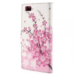 Huawei P8 Lite vaaleanpunaiset kukat puhelinlompakko.