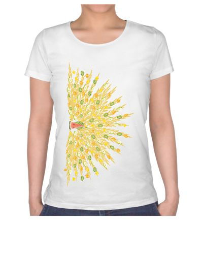 meyveşöleni-tavuskuşu / the fruit feast - the peacock / t-shirt / orange / lemon / kiwi / pear / banana / watermelon / pattern