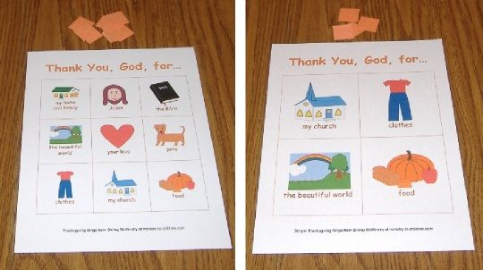 Bible Bingo Game about Thankfulness
