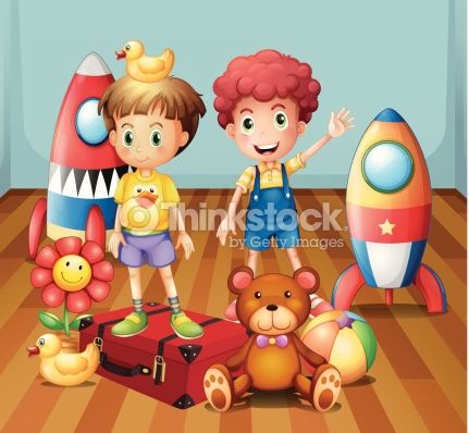 Vector Art : Two boys surrounded with toys