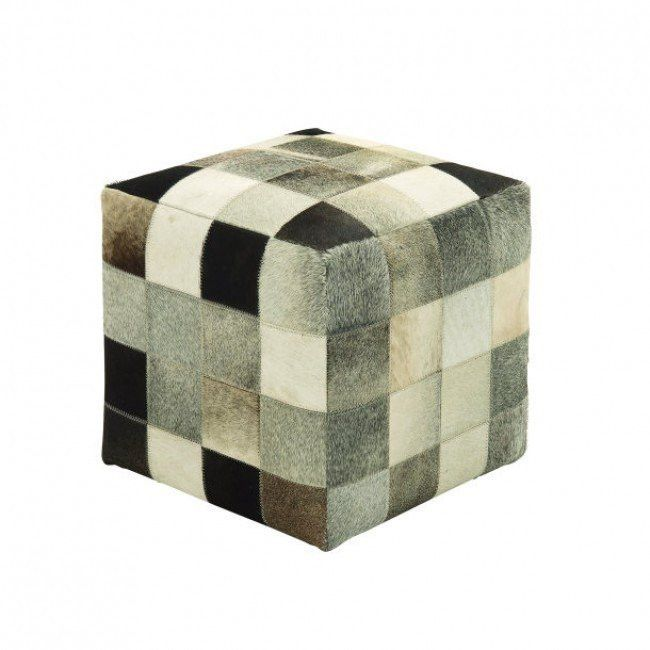 Leather & Pony Hair Cube Ottoman