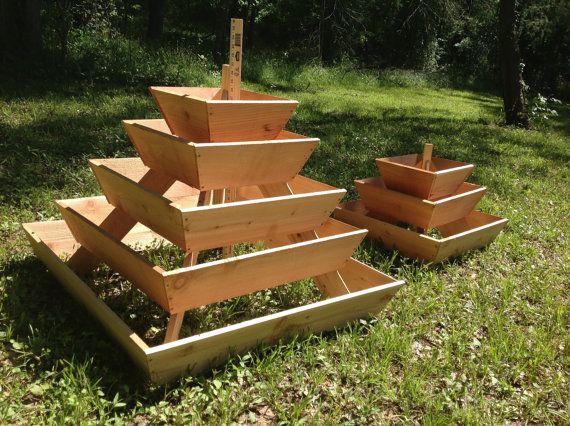Pyramid Planter 3 Tier Herb Garden Strawberry Planter Vertical Planter Urban Gardening