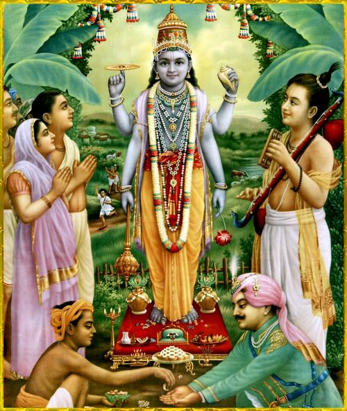 """SHRI SATYANARAYANA ॐ Artist: Raja Ravi Varma Srila Suta Goswami said: """"The Lord, as Supersoul, pervades all things, just as fire permeates wood, and so He appears to be of many varieties, though He is the absolute one without a second.""""~Shrimad Bhagavatam 1.2.32"""
