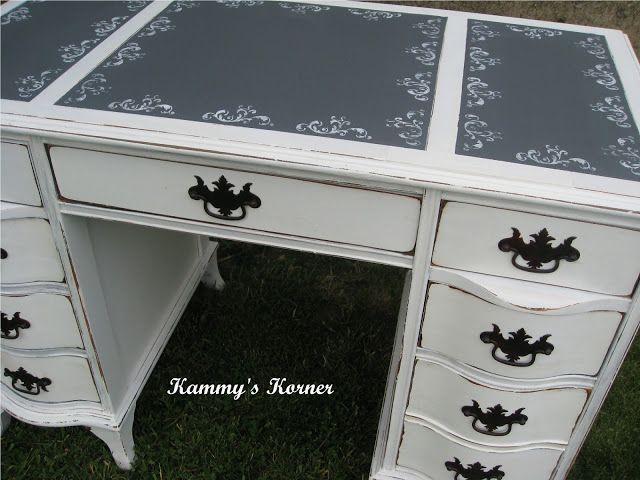 Kammy's Korner: Shabby Chic White distressed Desk With gray Chalkboard inserts on top and stenciled border {Before and After}