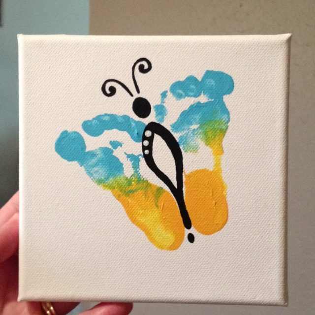 Footprint memento of your babies little feet.  Cute art for nursery.  DIY family keepsake.