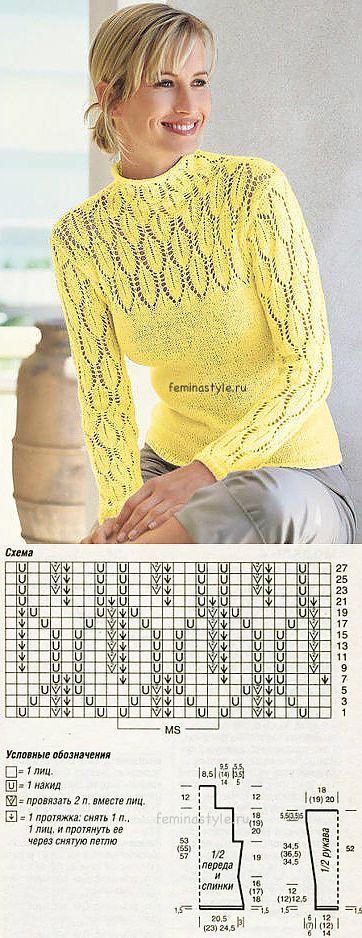 Ажурные узоры спицами: вяжем пуловер / Рукоделие / Домоводство / Женские секреты / Женский стиль | вяжем спицами | Постила