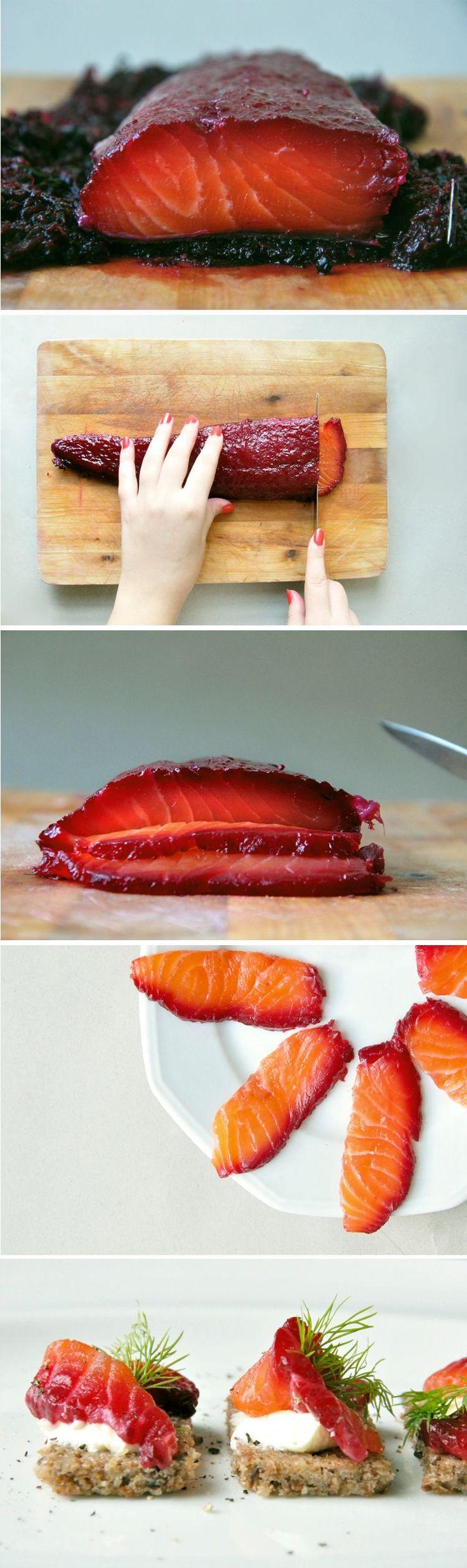 Gravlax de saumon à la betterave.
