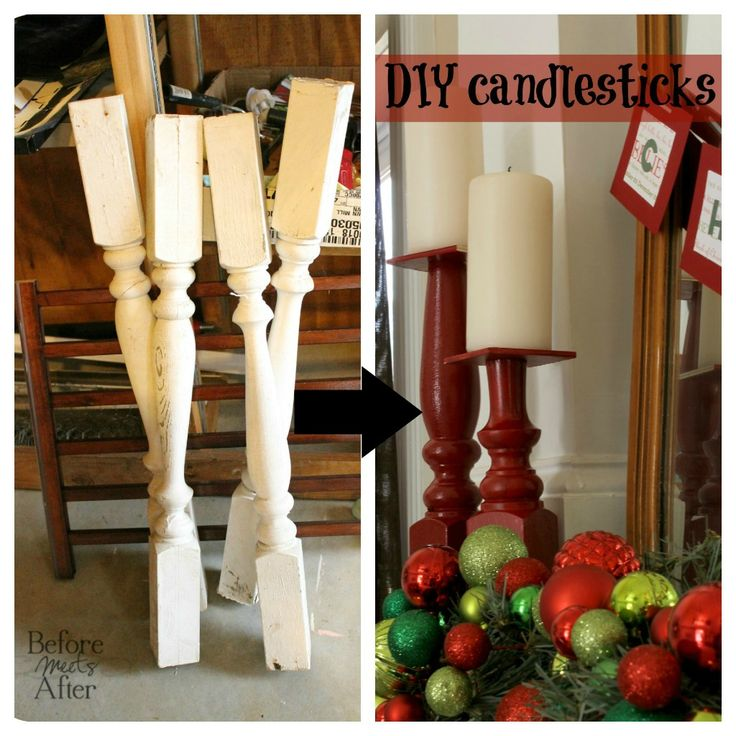 Before Meets After: A Crafty Christmas Linky Party and DIY candlesticks