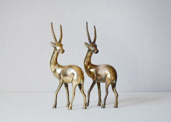 Brass Gazelle  Safari Home Decor  Brass Animals  by TimberAndTwine