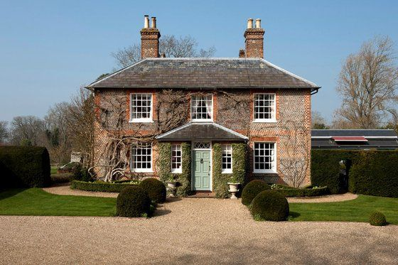 """Front of the Middletons' Georgian home on 18 acres called """"The Manor"""" in Bucklebury.  The photo was taken when the home was on the market.  The Middletons paid 7.3 million US dollars in Oct. 2012.  William contributed financially due to security requirements."""