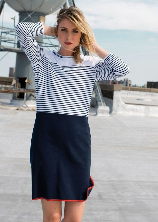 Fabulous new Saint James Dress, in a nautical, ribbed design.  There contrasting edging at the drop of water on the back, slit down left side, and on the bottom of garment for an eye-catching statement lining. This is brand new in for spring and summer.