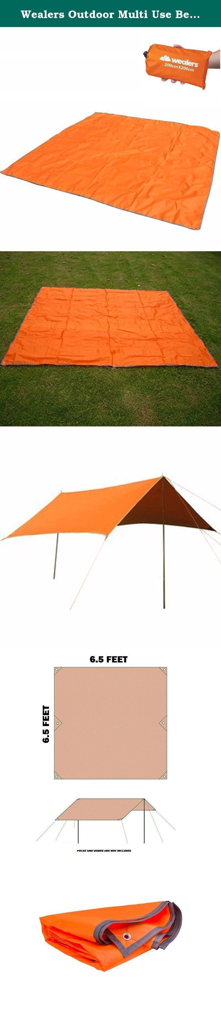 Wealers Outdoor Multi Use Beach Blanket Mat / Camping Canopy Cover / Tent Tarp / Picnic Throw with Nylon Pouch & 4 Stakes / Pegs - 6.5 X 6.5 Feet (Orange). This Wealers Shelter is a lean-to for fast shelter for 2-3-4 persons. The ultralight fabric is a 300D Thickened Oxford fabric with PU coating, providing a tough, waterproof shelter for sleeping in the woods or just resting in the shade. The tarp measures 6.5 feet by 6.5 feet (3-4 Person) sufficient for 2-3-4 persons. The loops provide...