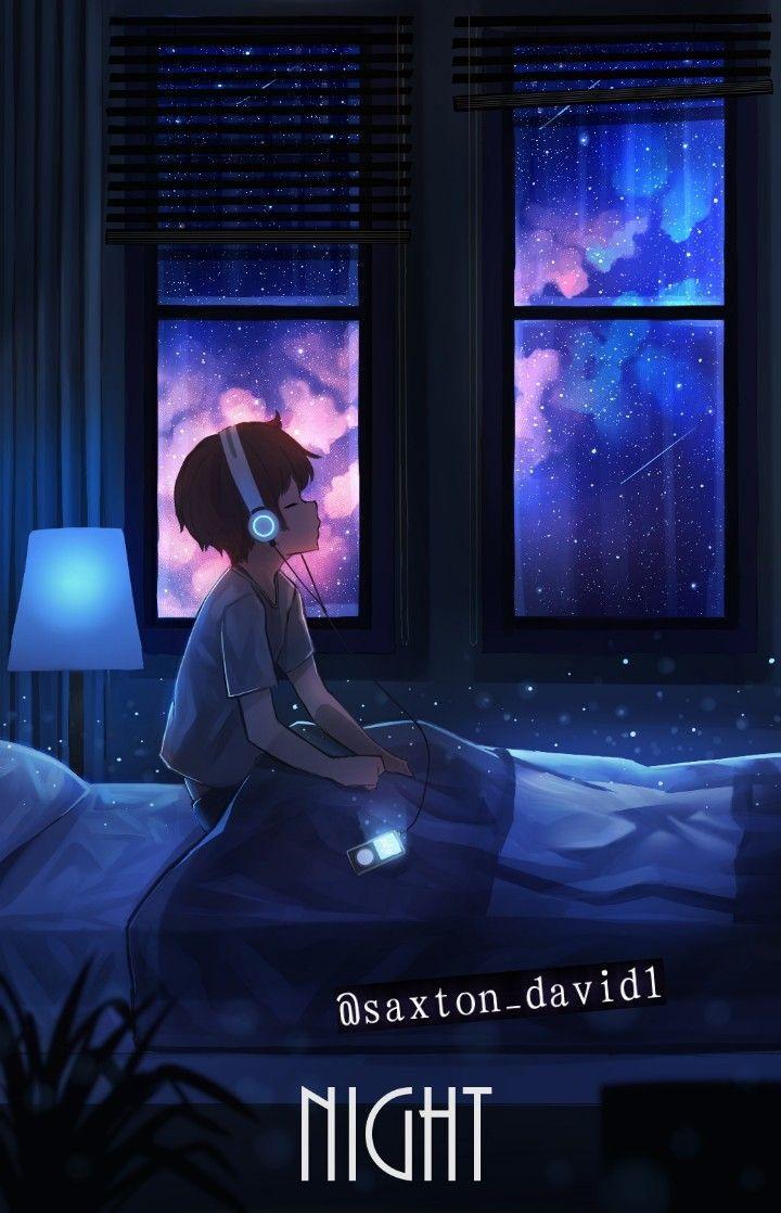Pin Oleh Kristian Manuel Carita Di Fondos Foto Langit Malam Seni Animasi Bintang Jatuh