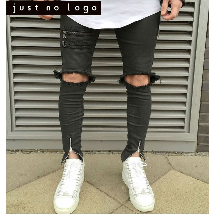22.94$  Buy here - http://alihks.shopchina.info/go.php?t=32799072259 - Fashion Black Ripped Biker Jeans for Men Skinny fit Torn Worn Distressed Ankle Zipper Jeans Jogger Pants Knee holes  #buyonlinewebsite