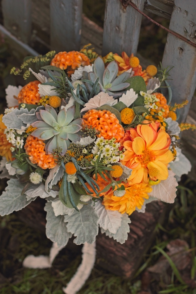 Bouquet with succulents, dahlias, coxcomb and dusty miller GRAY AND ORANGE