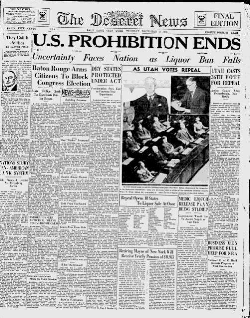 """""""U.S. PROHIBITION ENDS"""" 