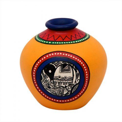 ExclusiveLane Terracotta Handpainted Warli Vase Matki Yellow 6 Inch - Vase by ExclusiveLane for Beeja