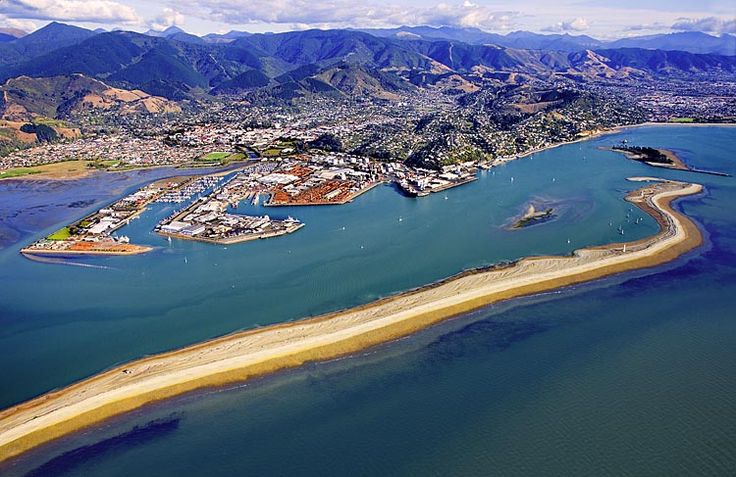 Nelson, with the Boulder Bank, foreground, see more, learn more, at New Zealand Journeys app for iPad www.gopix.co.nz