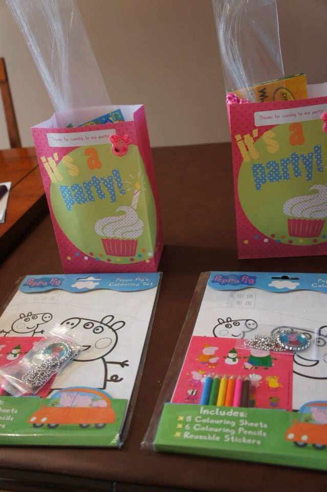 Peppa pig birthday party goody bags