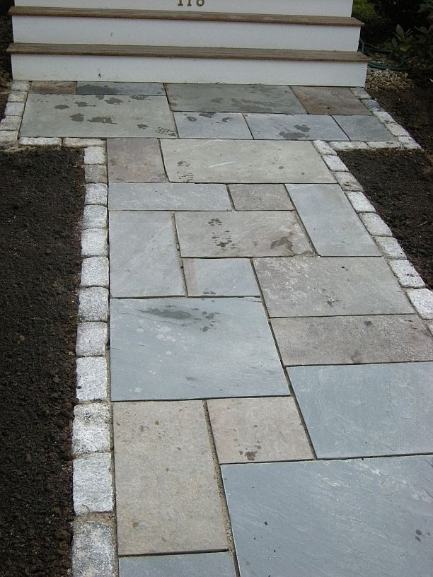 front walkway images | for Walkways and Patios ........ I like the smaller pavers on the outside of the larger ones....