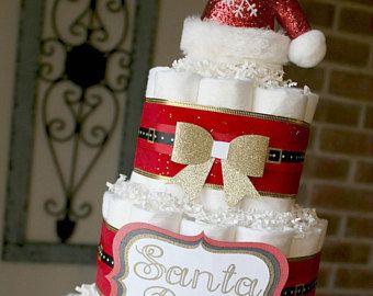 3 Tier Santa Baby Diaper Cake. Red Gold Christmas Inspired Diaper Cake, Winter Santa Baby, Gender Neutral, Red Gold, Christmas Baby Gift