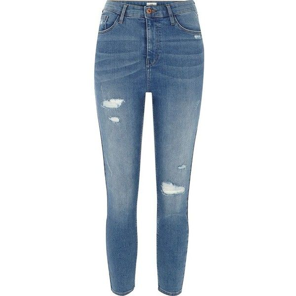 River Island Petite blue high waisted Harper skinny jeans ($80) ❤ liked on Polyvore featuring jeans, blue, skinny jeans, women, distressed skinny jeans, denim skinny jeans, high-waisted skinny jeans, high waisted ripped jeans and high waisted skinny jeans