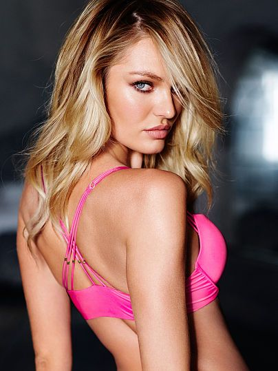 Worn by : Angel Candice Swanepoel  Type : Very Sexy Strappy Back Push Up Bra Color : Bright Pink Beaded