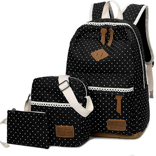 Школьный рюкзак в мелкий горошек 3 в 1, фото 3