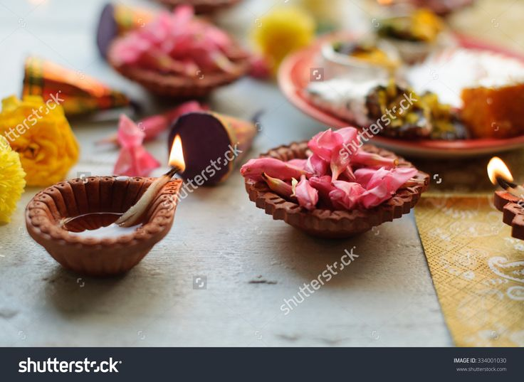 Diya Lamps Lit During Diwali Celebration With Flowers And Sweets In Background Stock Photo 334001030 : Shutterstock