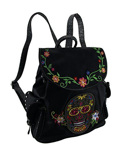 Vinyl Womens Backpack Purses Embroidered Sugar Skull And Floral Trim Concealed Carry Backpack Model #