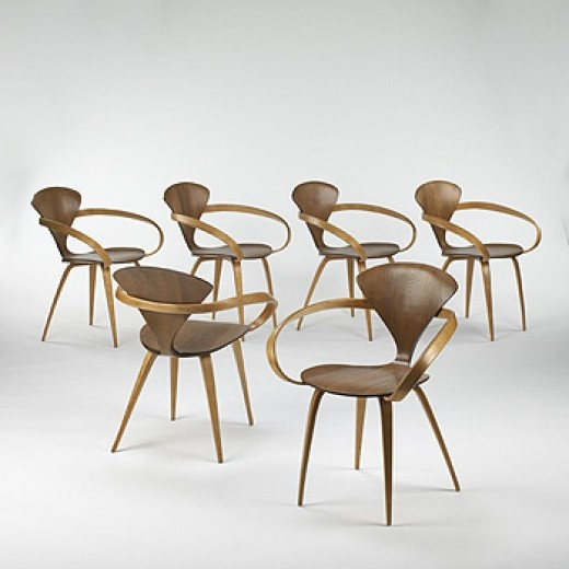 norman cherner armchairs set of six designed for plycraft usa