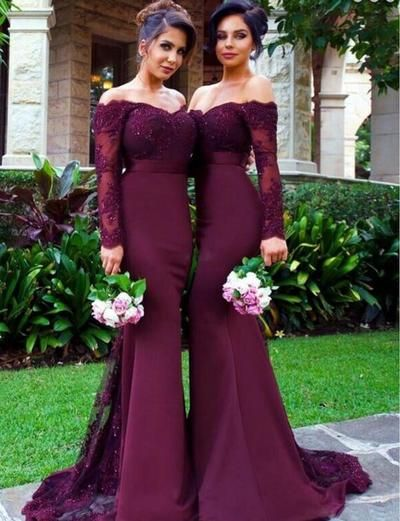 Off shoulder Long sleeve bridesmaid dresses, Mermaid lace bridesmaid dresses, long bridesmaid dresses, cheap bridesmaid dresses, 17040