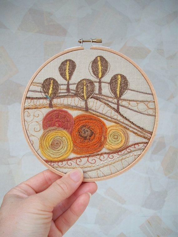 Autumn forest fiber art embroidery hoop wall inch