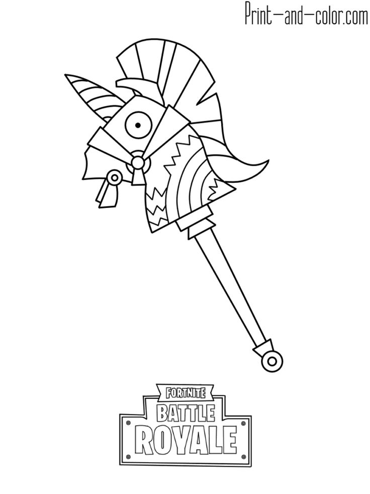 Fortnite Battle Royale Coloring Page Rainbow Smash Weapon