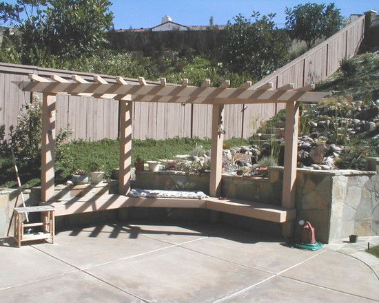 Corner Pergola Design With Built In Bench For The Yard