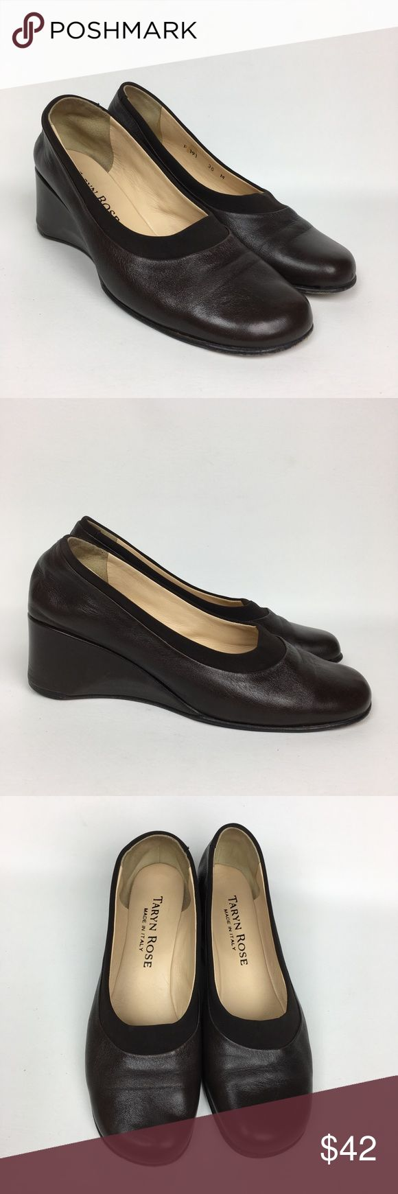 Taryn Rose Sz 36/5 M Brown Leather Wedge Loafers. Pre owned Good Used Condition. Taryn Rose Shoes Wedges