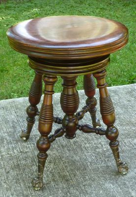 Details About Antique Swivel Top Wood Piano Stool With