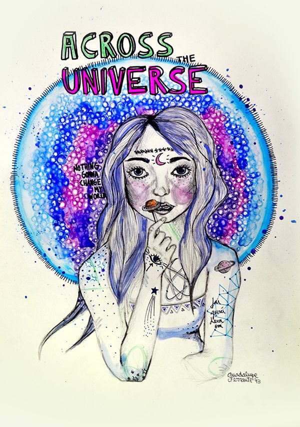 Galaxy Woman▼ by Guadalupe Ferrante, via Behance #TheBeatles #Illustration #Galaxy #Universe