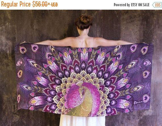 VENTA cachemira bufanda, bufanda de pavo real, bufanda de seda púrpura, Hippie chal, regalo artístico, bufanda de la impresión Digital, regalos únicos, seda chal, Batik Saro