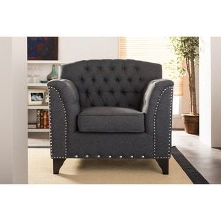 Baxton Studio Pavlov Grey Fabric Upholstered Accent Chair - 17348877 - Overstock.com Shopping - Great Deals on Baxton Studio Living Room Chairs